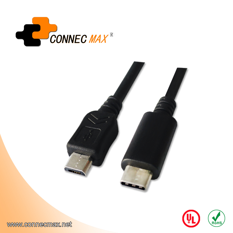 USB 3.1 type C to USB 2.0 micro male to male cable
