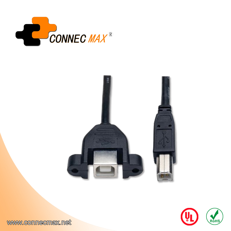 USB 2.0 B Male to B Female Cable With Panel Mount