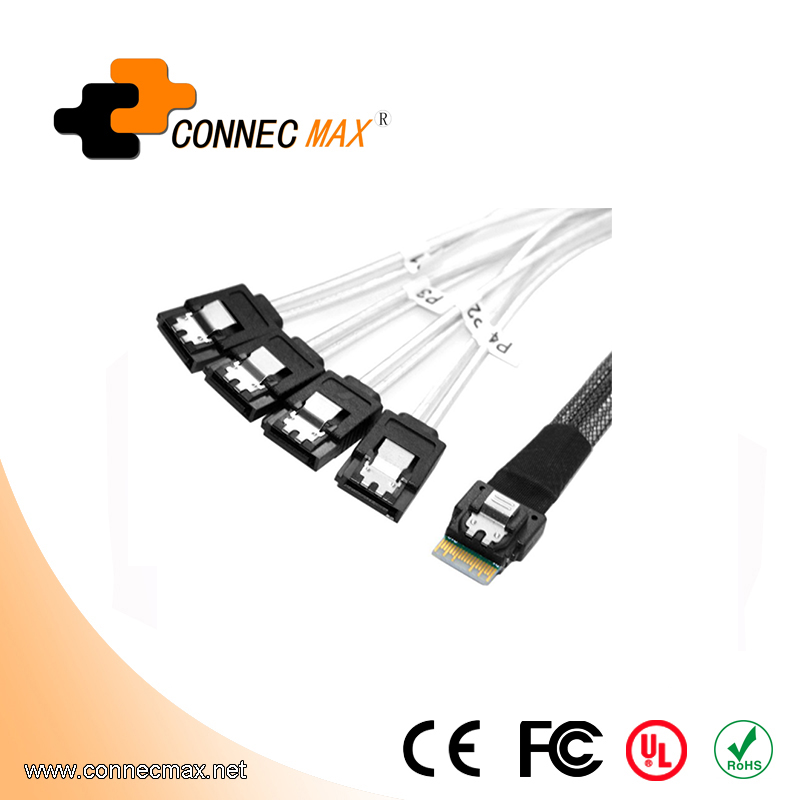 MINISAS (SFF8654) TO 4SATA 7PIN Cable