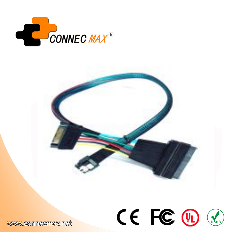 MINISAS (SFF8654) TO MINISAS (SFF8639)Cable+15PIN Power Supply