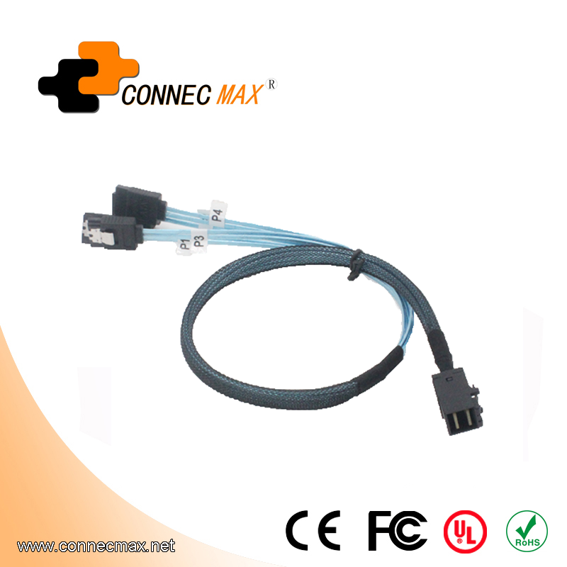 MINISAS (SFF8643) TO 4*SATA 7PIN Cable